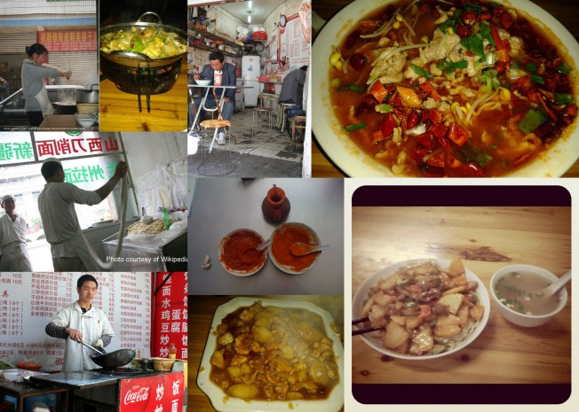 Top right clockwise: Sichuan dish shui zhu rou pian; la mian or pulled noodles from the Muslim noodle shop; and an assortment of scenes from various street vendors
