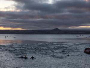 Looking across Lake Taupo at the start of the long swim